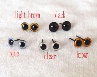 5mm Clear Glass Bird  Eyes on Wire Finest quality 12 pr