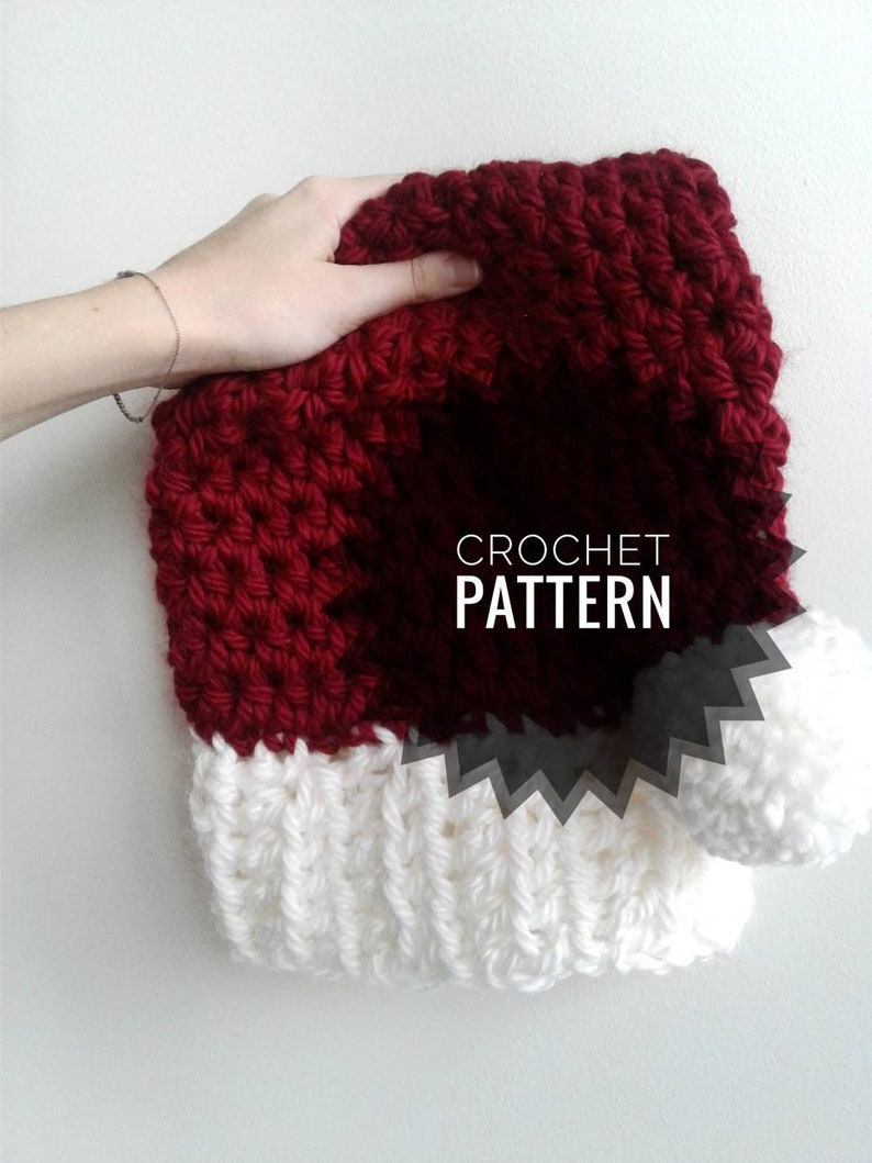 Santa Hat Crochet Pattern Easy Crochet Pattern Holiday Hat Etsy