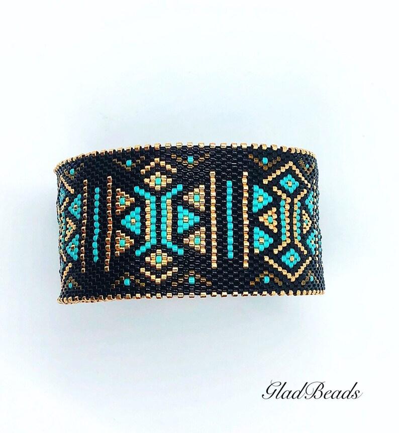 Handmade Beaded Peyote Cuff Bangle Bracelet Beadwork Accessories 20.5cm Best Gift Idea Holiday Celebration