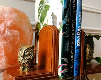Owl bookends , brass and wood owl bookends