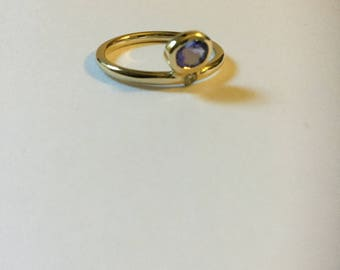 14K Yellow gold Tanzanite &Diamond ring.
