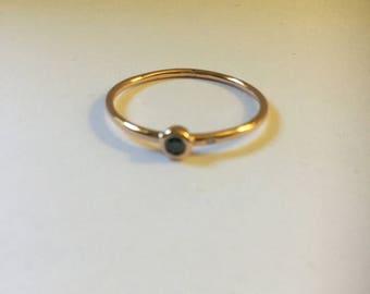 14K Rose gold Ring blue and white diamond