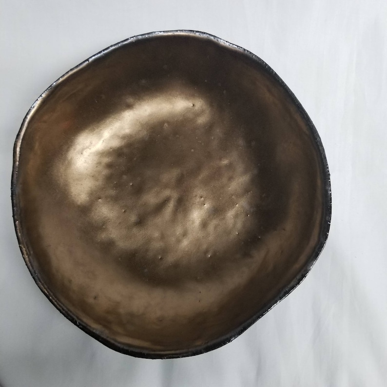 10 Dark Blue hand carved hand made stoneware ceramic bowl with gold glazed center carved leaves organic shape one of a kind original piece