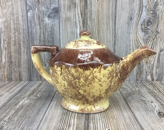 Vintage Spongeware Teapot • Yellow and Brown Pottery Teapot by Gonder • Tea Party