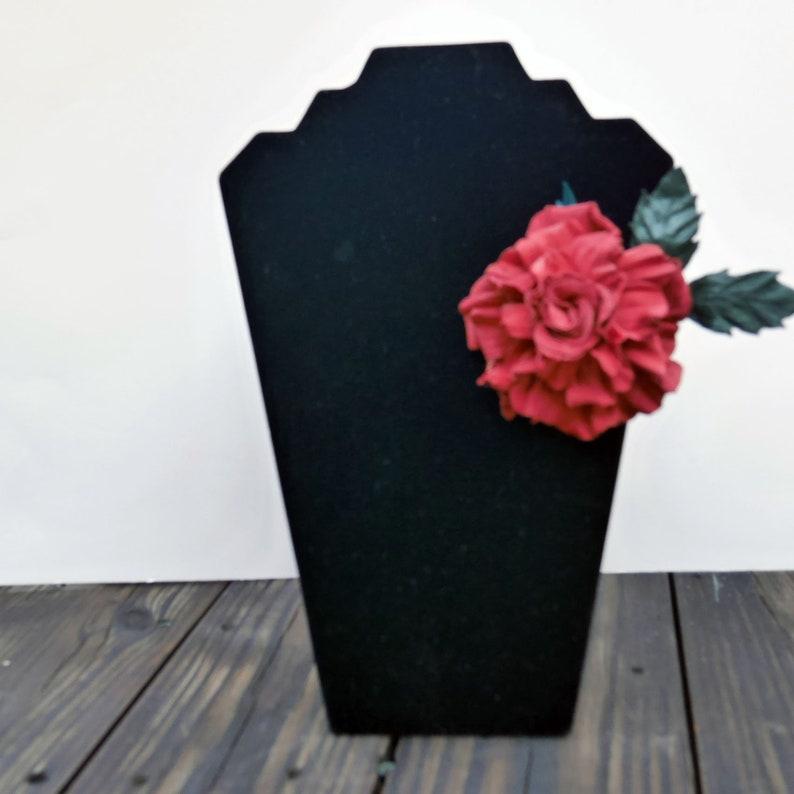 Handmade Brooch Flowers Leather Rose Red Rose Brooch Leather Craft red Gift for woman Leather Brooch Leather Flowers Gift for Her