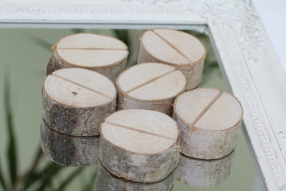 Rustic Wood Birch Tree Slices Place Card Holder Wedding Party Favor