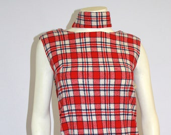 Vintage Clothing • Women's Dresses • 1960's Plaid Wool Dress • Red and White Plaid with Neck Tie • Short - Mini Style •