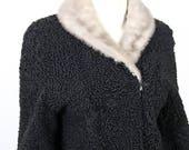 Vintage Clothing Black Persian Lamb Fur Women s Cropped 1960s Swing Coat Mink Fur Collar