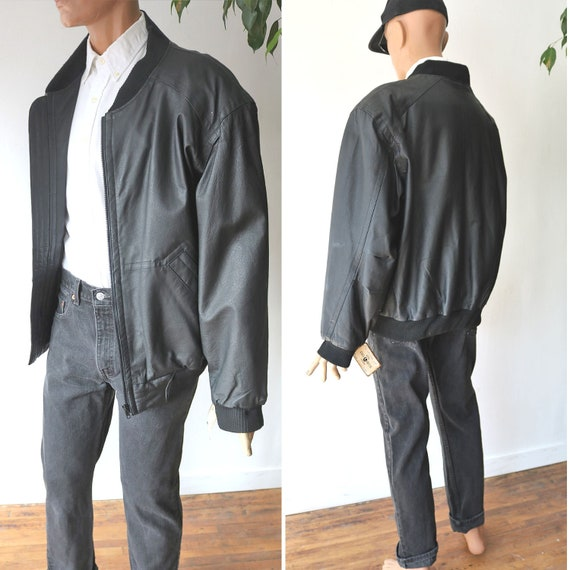 Vintage Leather Bomber Jacket - 80's Black Leather