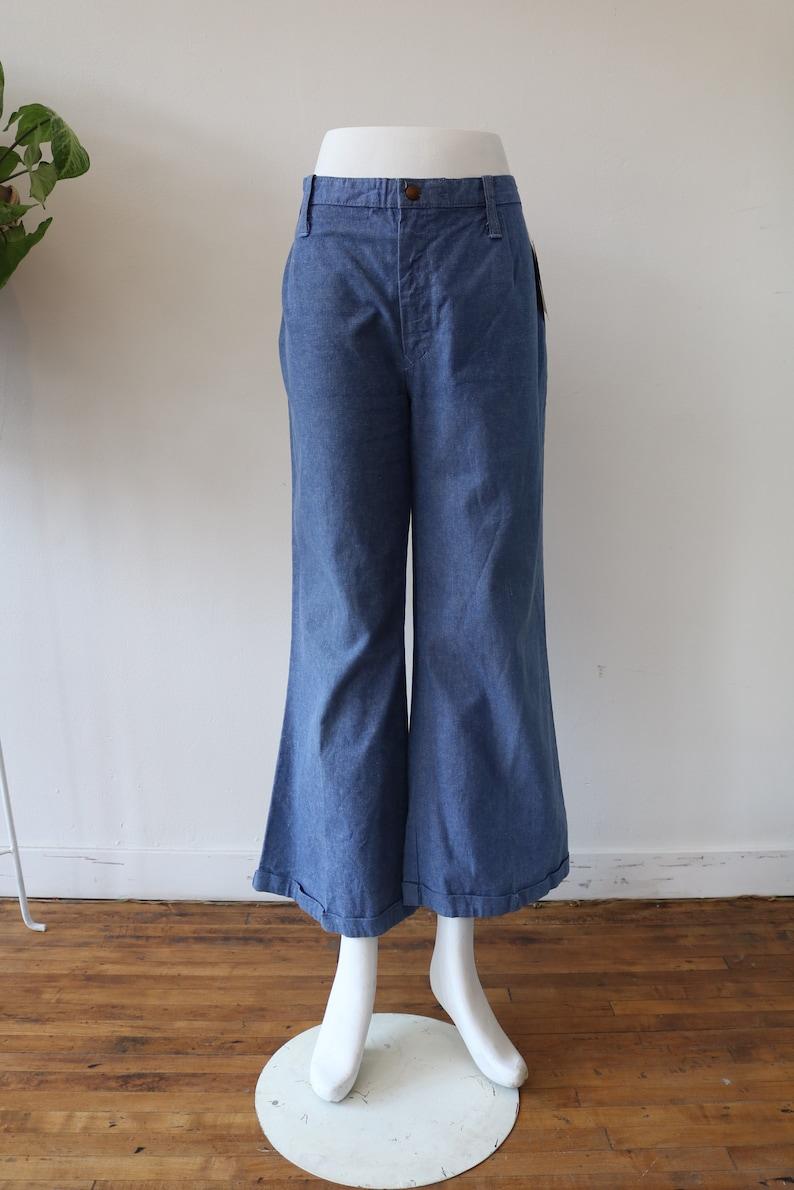 Vintage 70\u2019s Denim Wash Pants \u2013 MidHigh Waist \u2014 WideFlare Leg \u2013 Lightweight Trousers\u201430 Inch Waist