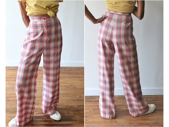 70's Plaid High Waisted Pants - Hand-Made - Red Bl