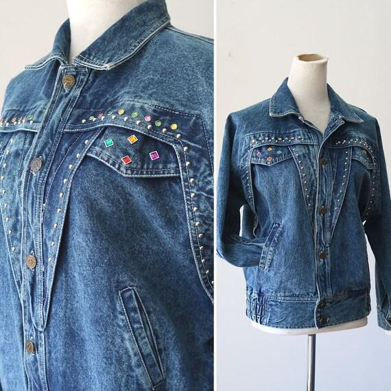 Vintage Denim Bedazzled Jacket 80 S Jean Jacket Beading Gems Stud Decoration Vogue Denim Jacket