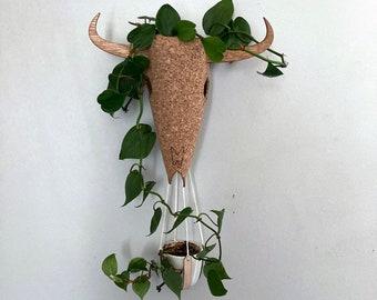 Steer Skull Hanging Planter- Cork