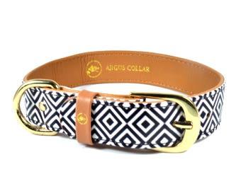 Dog collar for boys / Dog collar black and white / Chevron Dog Collar / Black and white checkered dog collar / checkered dog collar