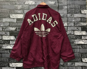 73029f47a6 Vintage ADIDAS Coach Jacket 90s Rare Adidas Windbreaker Button Jacket Large  Size  975