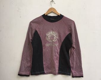 9dd2f0c5 Vintage VERSACE JEANS COUTURE Stripe Longsleeve Big Embroidery Medusa Head T -Shirt Extra Small Size #518