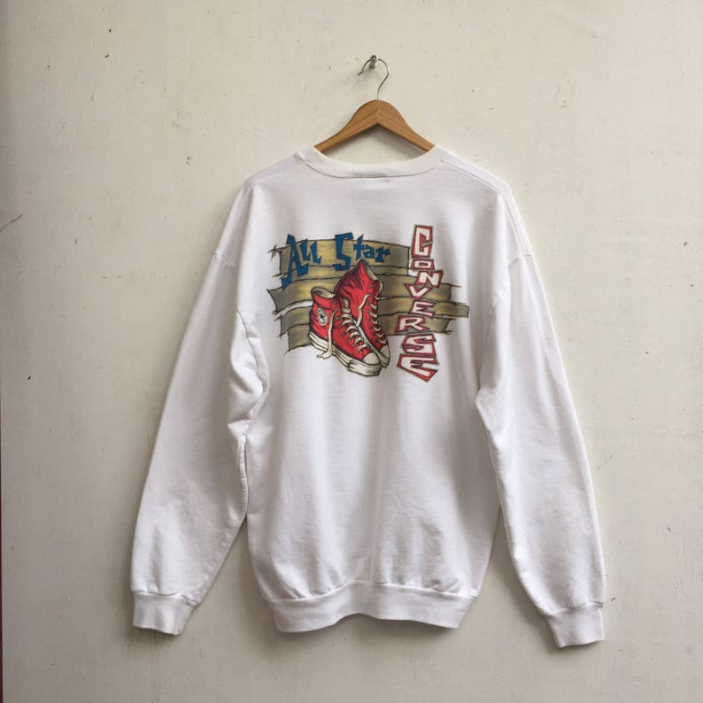 fef57680f995 CONVERSE Vintage Sweatshirt Rare Chuck Taylor All Star White Oversized  Sweatshirt Large Size  447