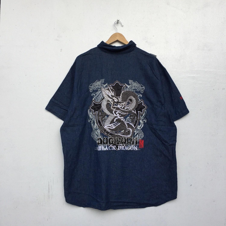 DOGTOWN Vintage Dragon Noir broderie Jeans chemise planches roulettes à  roulettes planches Style Taille XL 07ef24 9955277c5eec