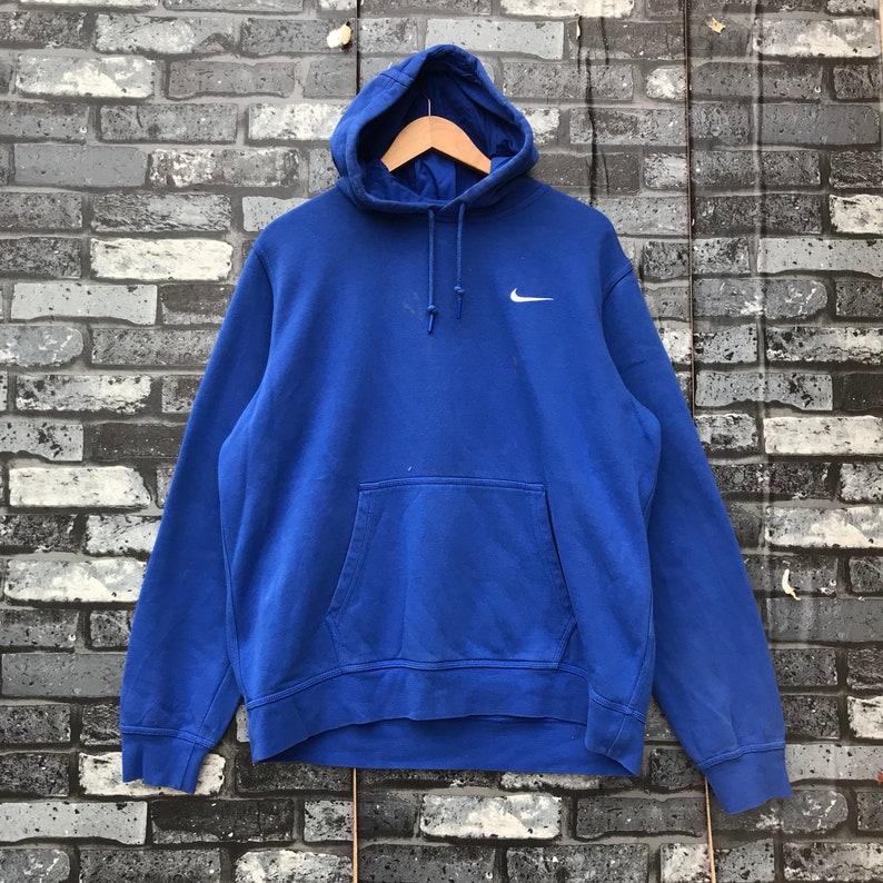 21ae656b8b86 Vintage NIKE Small Embroidery Swoosh Logo Blue Hoodie Pullover