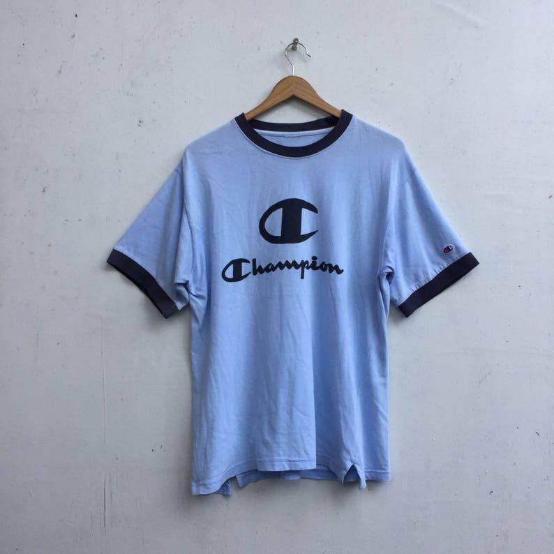 a4c0f81d Vintage CHAMPION Big Logo Champion Ringer Shirt Medium 756 | Etsy