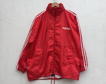 Vintage ADIDAS Jacket 90s Red Adidas Three Stripe Hidden Hoodie Windbreaker Jacket Small Size #728
