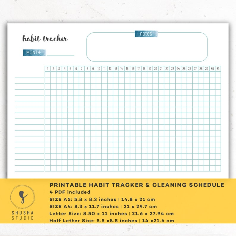 graphic regarding Bullet Journal Habit Tracker Printable titled Printable Bullet Magazine Pattern Tracker, 30 Times Behavior Problem, Printable Regular monthly Pattern Tracker, A5 Filofax Inserts