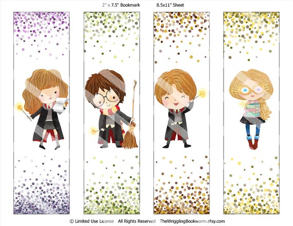 Printable Harry Potter Bookmark Set Hermione Granger Ron Etsy