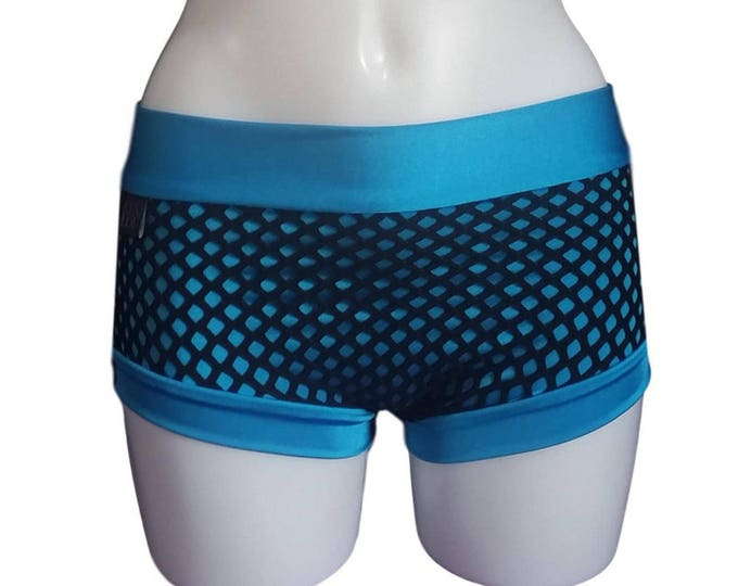 Turquoise Pole short with Black mesh overlay