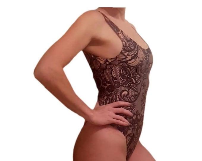 Nude lace print Bodysuit