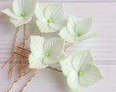 Bridal hair piece Mint green hydrangea hair pins, Wedding flower hairpiece, Bridesmaid hair pin Hair accessory Prom floral hairpin