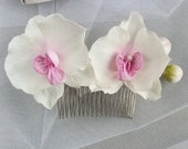 Wedding hair comb white pink orchid, Beach hair accessory bridesmaid, Bridal head piece Real touch orchids Tropical wedding hair clips
