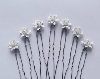 Set of hairpins white gypsophila Babies Breath Hair Bridal hair vine Bridesmaid party gifts Small white flower Wedding hair pins Hairpiece