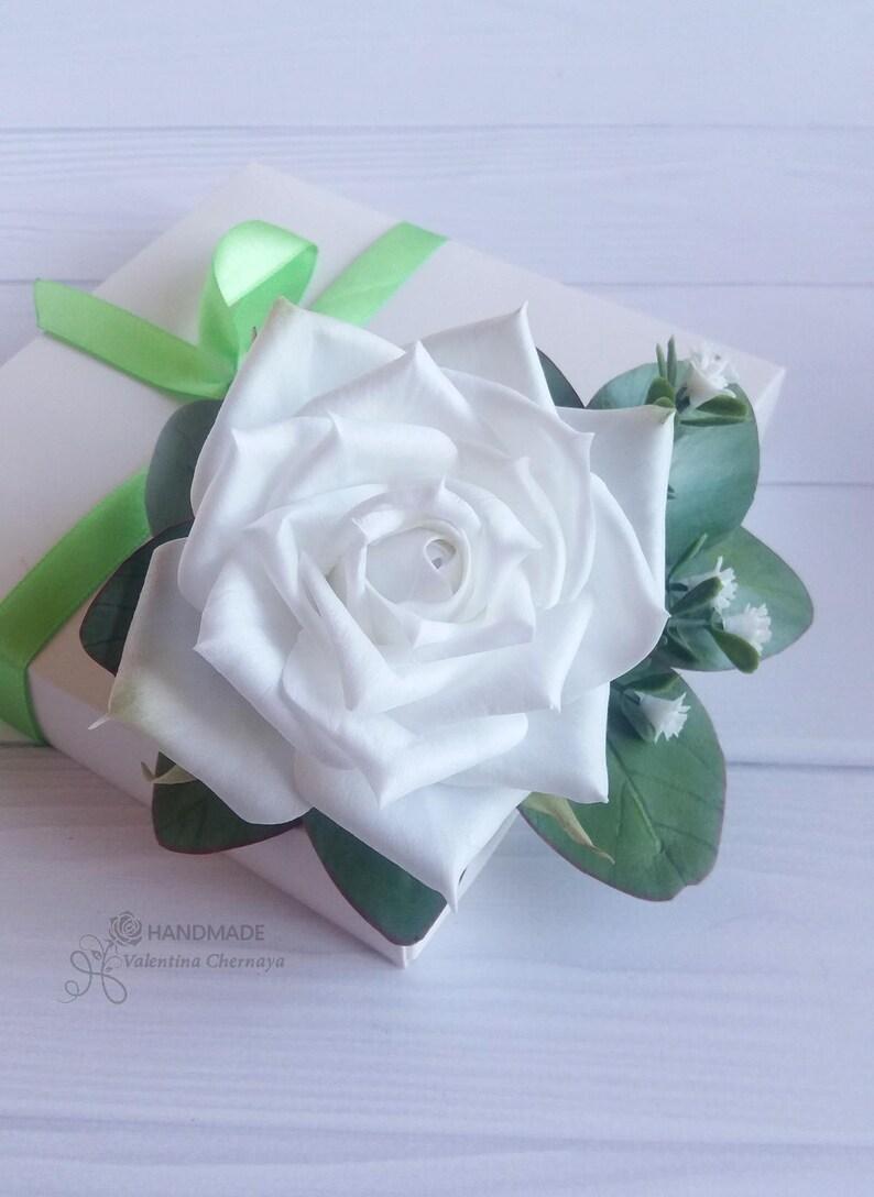 Bridal flower hair clip Wedding headpiece  White rose hair comb Leaf eucalyptus hair piece Bridesmaid foral hair pins