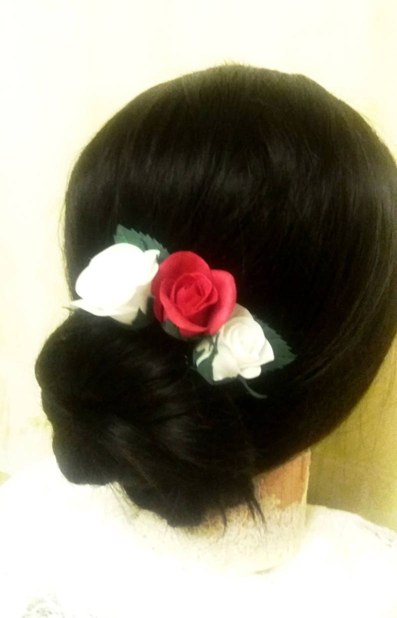 Bridal hair pin red /& white flower hair pieces floral headpiece for bridesmaids