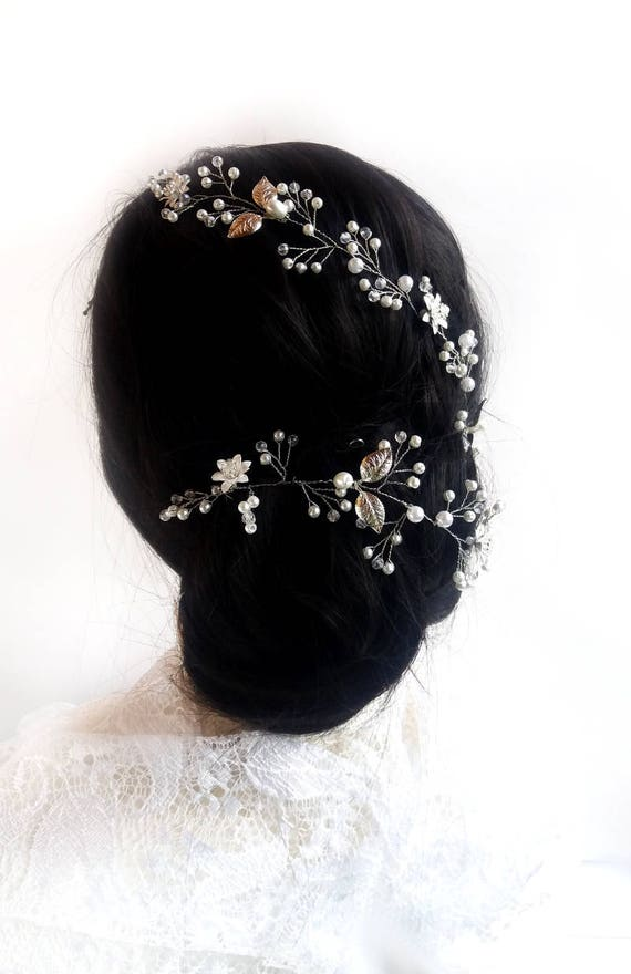 Bridal crystal long hair vine, Wedding hair piece, Silver headband Baby breath hair, Pearl Headpiece