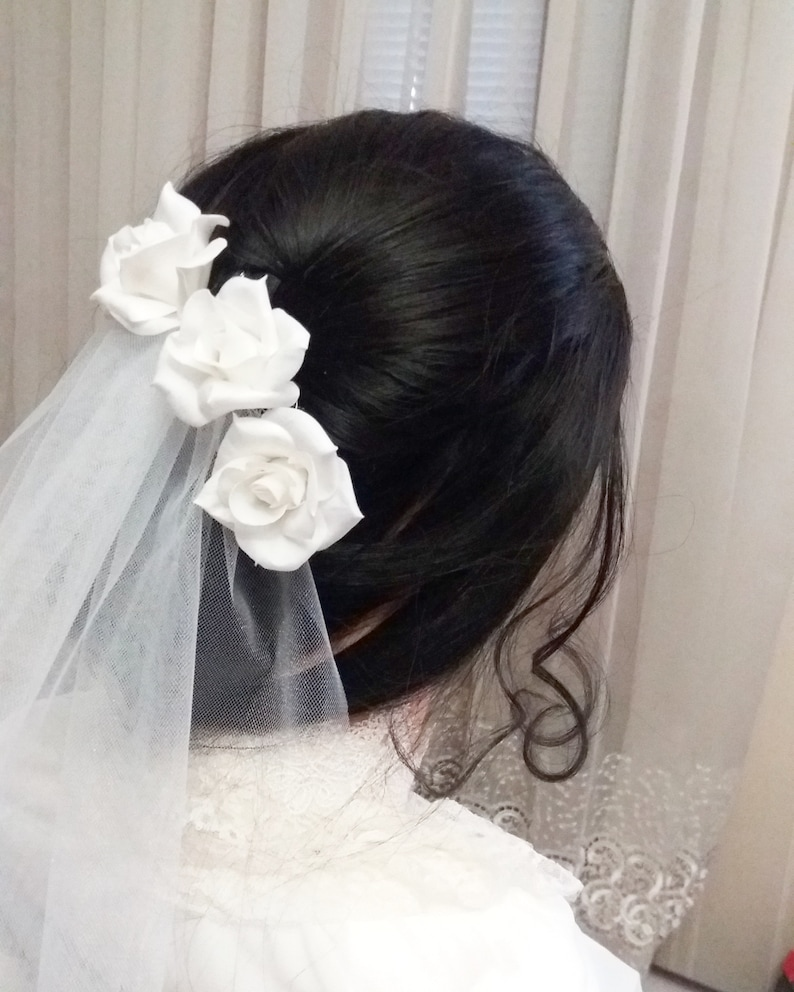 Wedding hair pins with white real touch rose Bridal floral headpiece Bridal hairpiece for bride