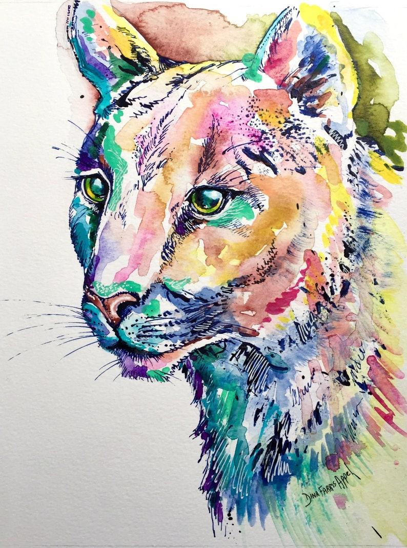 b61a32e1ea10a Watercolor Mountain Lion Painting, Mountain Lion Watercolor Painting on  Paper, Puma, Cougar, One of a Kind, Original, Big Cat, Vegan Art