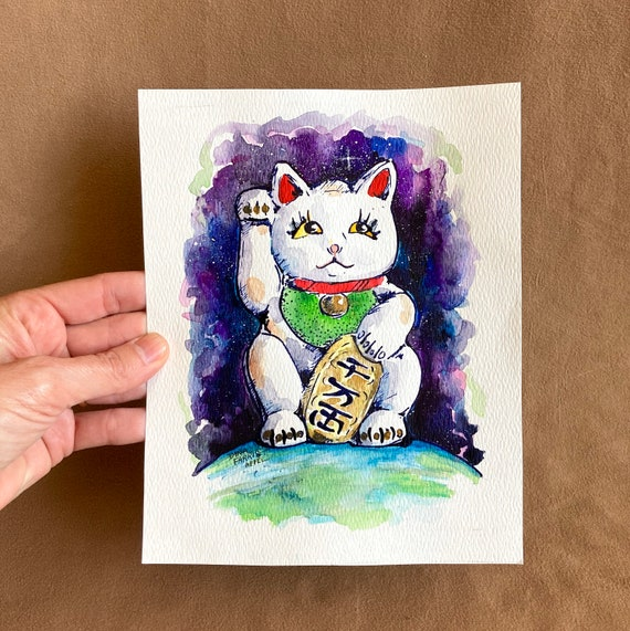 Lucky Cat Painting Kids Room Art Maneki Neko Watercolor Painting One of A Kind Cute Animal Art Beckoning Cat Lucky Cat Art