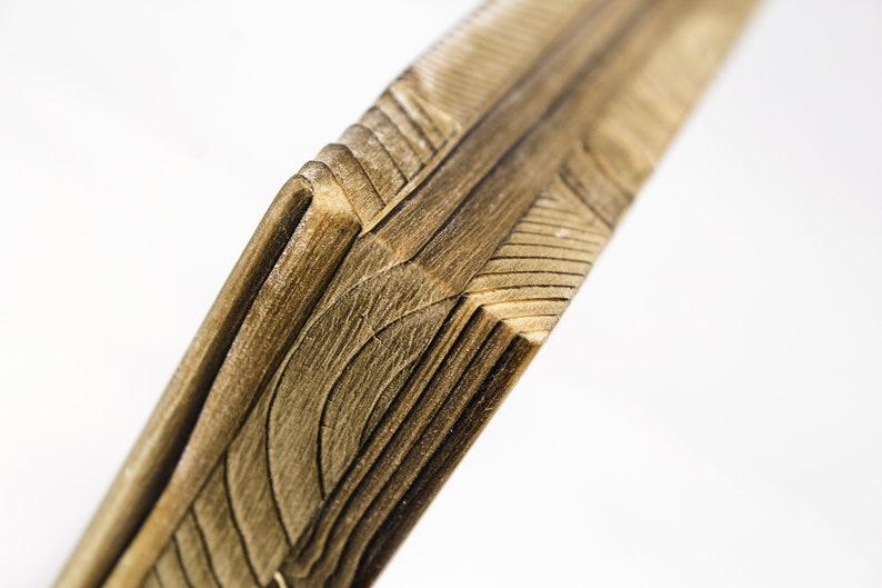 Photo art on wood with flamed edges Autumn leaf 15 x 15 cm