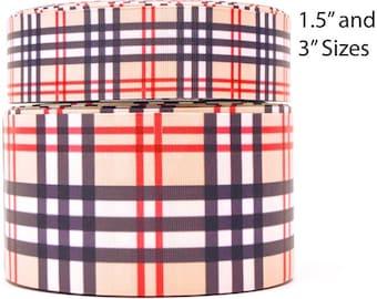 "1.5"" or 3"" Wide Tan Plaid Printed Grosgrain Cheer Bow Ribbon"