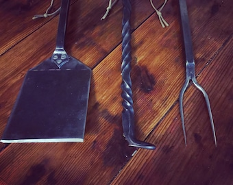 Grill Tools - Spatula - Grill Fork - Pigtail Flipper - Forged Utensils - Father's Day Gift - BBQ Tools - Chef Tools - Grill Set - Forged -