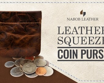 e9ff9c2e395b Squeeze Coin Pouch Coin Purse Change Holder genuine leather 3.5 x 3.5  inches