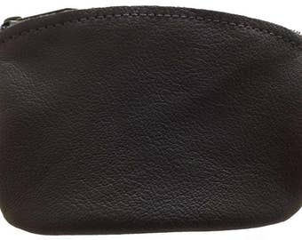 Classic Men's Large Coin Pouch Genuine Leather, Zippered Change Purse By Nabob Leather Made In U.S.A.