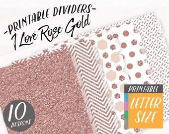 DIY Planner Printable Divider Rose Gold Glitter Letter Size Binder Tabs Monthly Dividers A4 85x11 Dashboard Journal