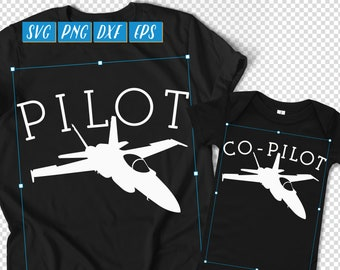 Pilot Co-Pilot SVG, Dad Son Matching, Matching Grandpa Grandson, New Dad Shirt SVG, Daddy and Me DXF, Fathers Day Shirt Graphic Set