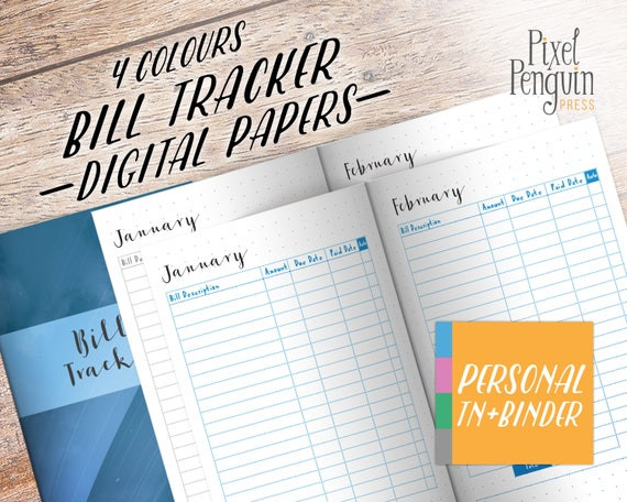 monthly bill organizer printable finance planner book tn etsy