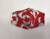 Washable Cotton Face mask. Oh Canada. Red Maple Leaf on Flag
