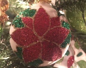 personalized glitter ornament poinsettia ornament personalized christmas ornament poinsettia glitter ornament glitter ornament personalized
