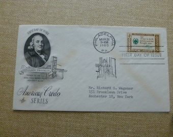 U.S.POSTAGE ~~ American Credo Series, Benjamin Franklin First Day Cover