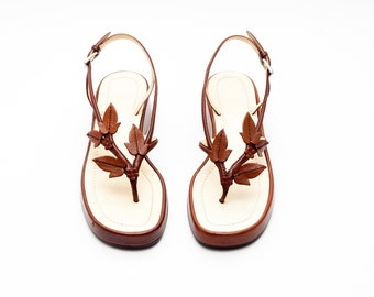 dea790b101f Prada Vintage Sandals • Brown Leather Platform Sandals with Leather Floral  Appliques • Vtg Prada • 80s 90s Vintage • Size 36.5
